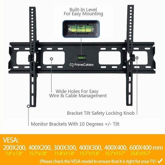 PrimeCables 30-70英寸 壁挂式 可倾斜 电视支架 12.59加元限量特卖!