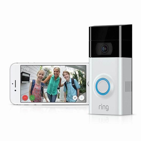 黑五价!Ring 1080P 第二代智能门铃 179加元包邮!