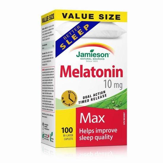 历史最低价!Jamieson 健美生 Melatonin 褪黑素 双效缓释片(10毫克 x 100片)4.3折 8.54加元!