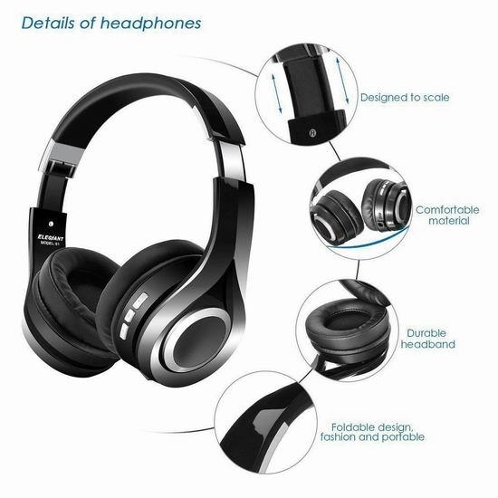 ELEGIANT 头戴式无线蓝牙耳机 27.99-29.99加元包邮!2色可选!