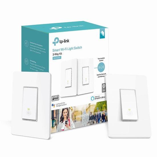 历史新低!TP-Link HS210 KIT Wi-Fi 入墙式 三向双联 智能开关套装7.3折 39.99加元包邮!