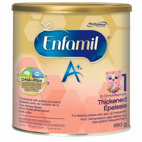 历史新低!Enfamil 美赞臣 A+ Thickened 一段A+ 增稠防吐 婴儿配方奶粉(660克) 27.54加元包邮!