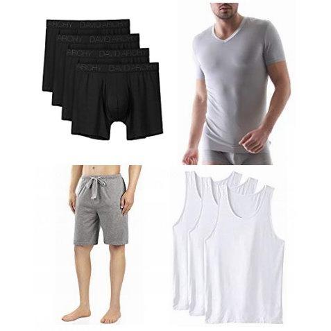 金盒头条:精选多款 David Archy 天然竹纤维 男士T恤、内裤、短裤等4.1折起!每款多色可选!