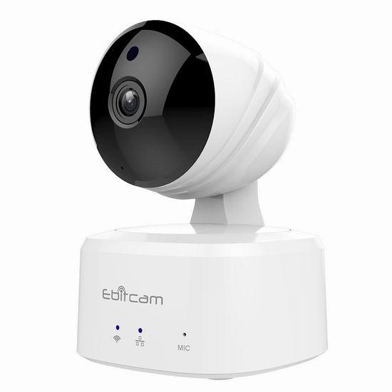 Ebitcam E2 智能WiFi安全监控摄像头 36.99加元限量特卖并包邮!