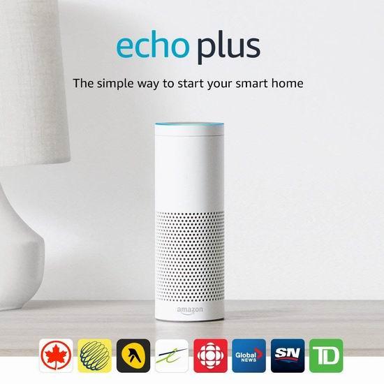 历史最低价!Echo Plus 亚马逊第二代智能家居语音机器人7折 139.99加元包邮!送飞利浦智能灯泡!