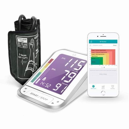 历史新低!1byone 智能蓝牙无线 心率监测 臂式血压计 38.99加元包邮!