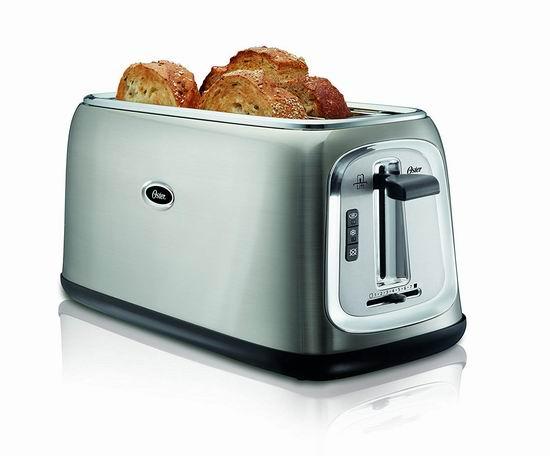 历史新低!Oster TSSTTRJB30-033 4片 超长插槽 不锈钢烤面包机 39.98加元包邮!