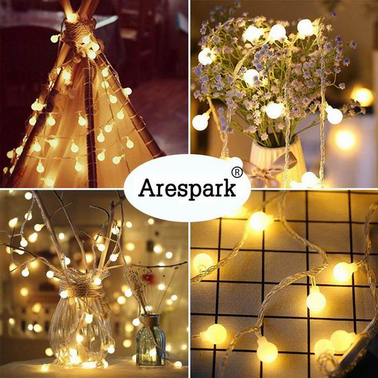 Arespark 100 Led 33英尺 防水童话装饰灯5折 14.99限量特卖!