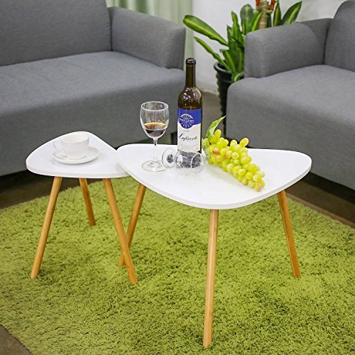 HOMFA Nesting 时尚三角咖啡桌+边桌 2件套  白色款 49.99加元+包邮