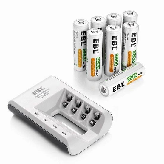 EBL 4通道电池快速充电器+8只AA/AAA镍氢充电电池套装 20.79-25.59加元限量特卖!