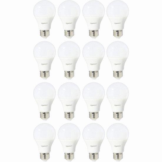 历史新低!AmazonBasics A19 60瓦等效 日光色 LED节能灯16件套 30.09加元!