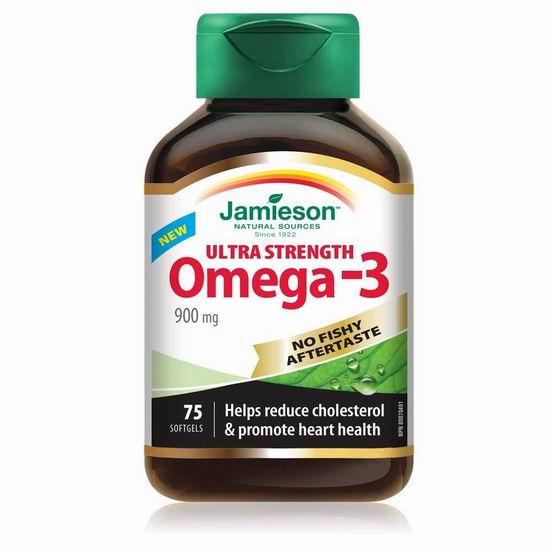白菜价!Jamieson 健美生 超强型 Omega-3 无腥味深海鱼油(900mg x 75)4.1折 9.99加元!