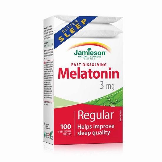 Jamieson 健美生 Melatonin 褪黑素速效片(3毫克 x 100片)5.59加元!