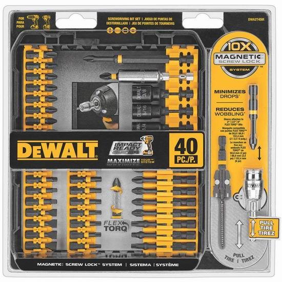 DeWalt 得伟 Flex Torq 螺丝头40件套6.5折 29.99加元