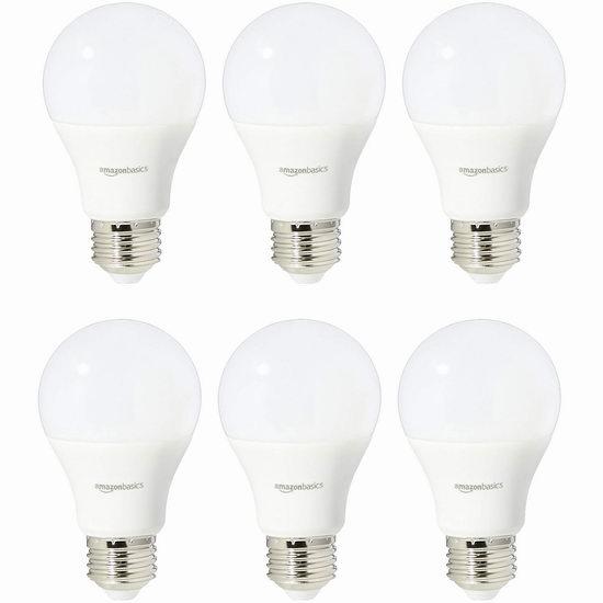 历史新低!AmazonBasics A19 40瓦等效 日光色 LED节能灯6件套5.6折 14.61加元!