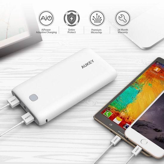 Aukey 20000mAh 双口便携式快速充电移动电源/充电宝3.6折 25.49加元限量特卖并包邮!
