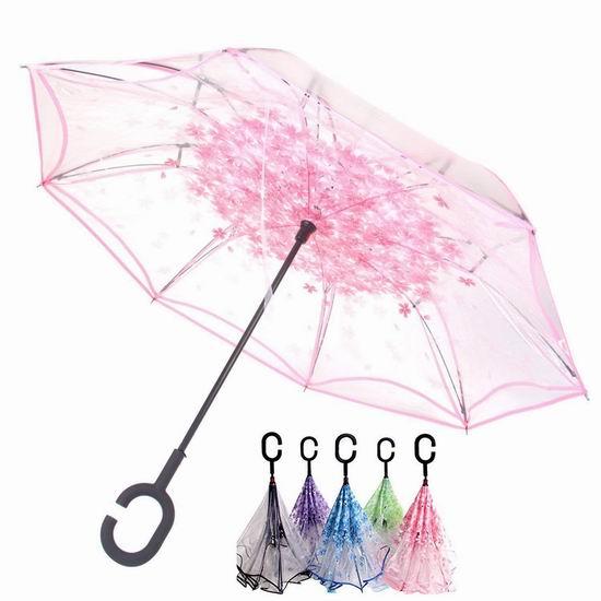 OldPAPA 双层抗风 防紫外线 透明樱花雨伞/倒伞 25.41加元限量特卖!