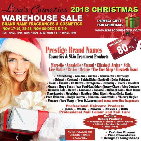 Lisas Cosmetics 2018 化妆品圣诞特卖会,各大品牌化妆品、护肤品、香水等2折起!