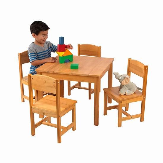 近史低价!KidKraft Farmhouse 实木儿童桌椅5件套6.4折 118.99加元包邮!