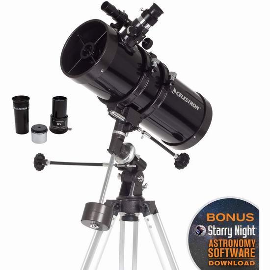 Celestron 星特朗 PowerSeeker 127EQ 经典牛顿反射式 天地两用 天文望远镜 189.99加元包邮!