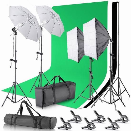 Neewer 2.6 x 3米 摄影录像工作室灯光+背景幕布超值装 189.55加元限量特卖并包邮!