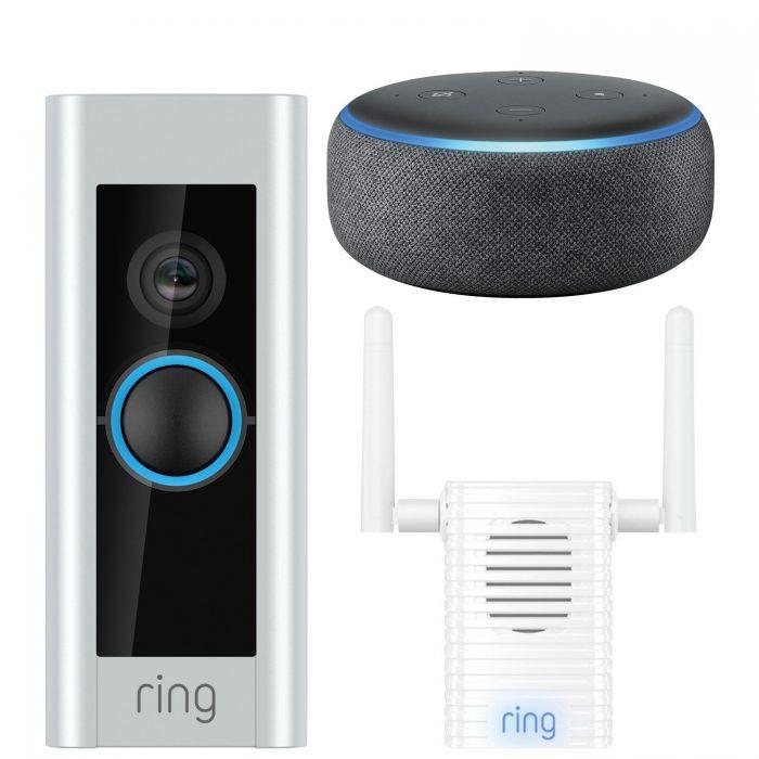 今日闪购:Ring Wi-Fi 可视智能门铃 + Ring Chime Pro信号扩展器 + 第三代Echo Dot智能音箱超值装4.9折 208.99加元包邮!
