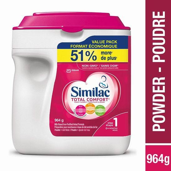 历史新低!Similac 雅培 Total Comfort Omega-3 & Omega-6 助消化一段 婴儿配方奶粉(964g) 31.33加元包邮!