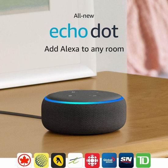 Echo Dot 亚马逊第三代智能家居语音机器人 44.99加元包邮!购2台单价降为39.99加元!闹钟版59.99加元!3色可选!