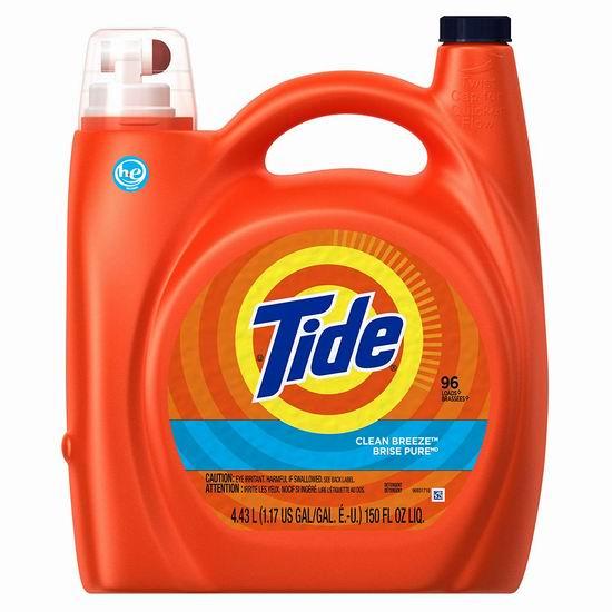 速抢!历史新低!Tide 汰渍 He 清香高效洗衣液4件套超值装(4.43升, 96缸 x 4) 40.34加元包邮!平时单瓶售价18加元!