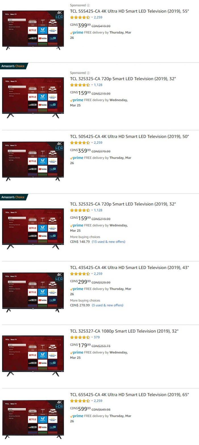 精选TCL  4K超高清智能电视 7折 179.99加元起特卖+包邮!