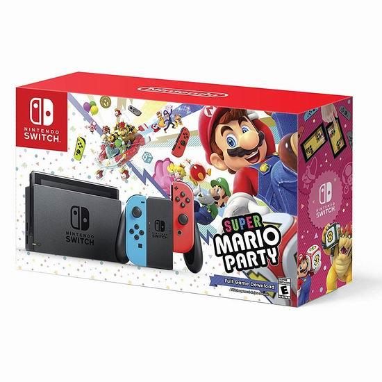 节礼周专享:Nintendo 任天堂 Switch 便携式游戏机+《超级马力欧派对》套装 379.95加元包邮!