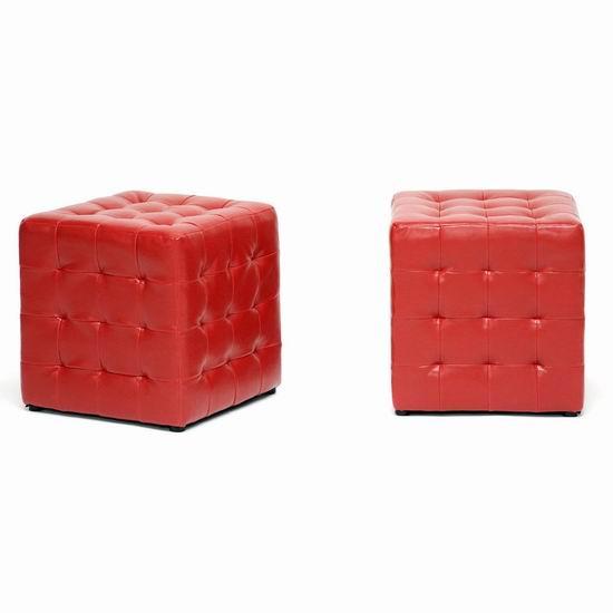 历史新低!Baxton Studio Siskal 时尚红色人造革 脚踏凳2件套4.6折 63.64加元包邮!