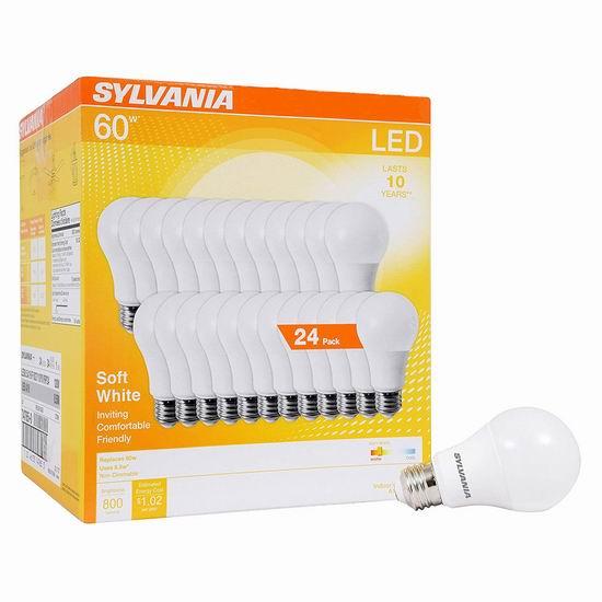 白菜价!历史新低!Sylvania A19 60瓦等效 软白色 LED节能灯24件套2.8折 14.04加元!