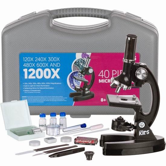 AmScope-KIDS 1200倍 学生显微镜+48附件套装 34.39加元限量特卖并包邮!