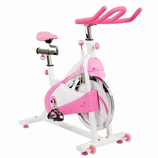 历史新低!Sunny Health and Fitness P8150 炫彩动感 高颜值粉红 家用静音健身自行车6折 348.4加元包邮!