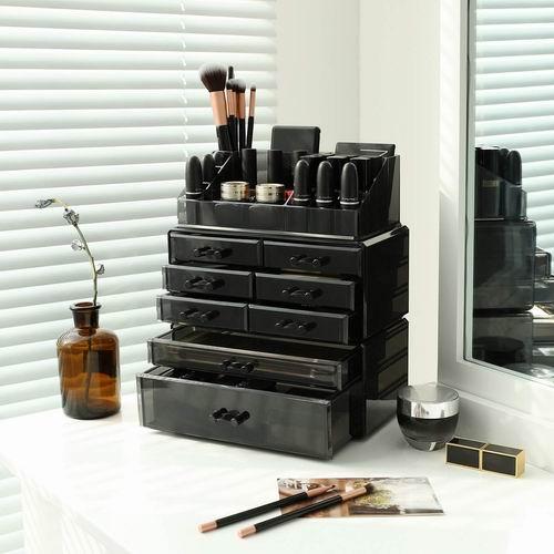 SONGMICS 透明化妆品首饰收纳盒3件套6.3折 32.29-33.99加元!2色可选!