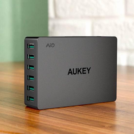 历史新低!AUKEY 60瓦 6口 智能快速USB充电器 19.54加元限量特卖!