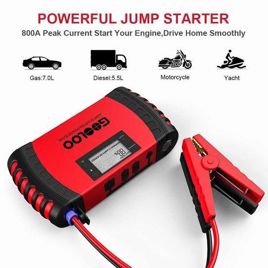 GOOLOO 800A Peak 18000mAh 多功能 便携式充电宝/汽车电瓶紧急启动电源 69.99加元限量特卖并包邮!