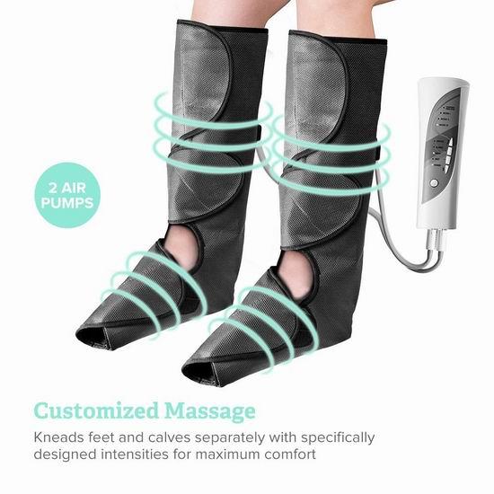 历史新低!Sable 无绳可充电 空气波 气压腿部/足部按摩器 59.99加元包邮!瘦身美腿、消除疲劳、防静脉曲张!