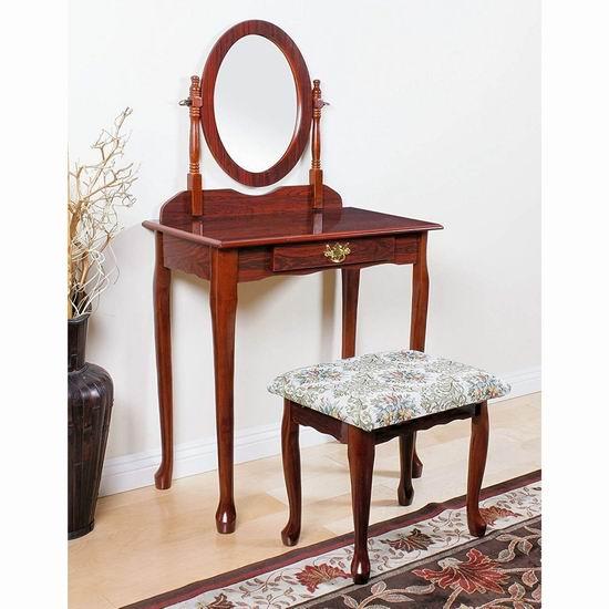 白菜速抢!历史新低!Q-Max SH1291 樱桃色 复古梳妆台桌椅两件套2.1折 84.08加元包邮!
