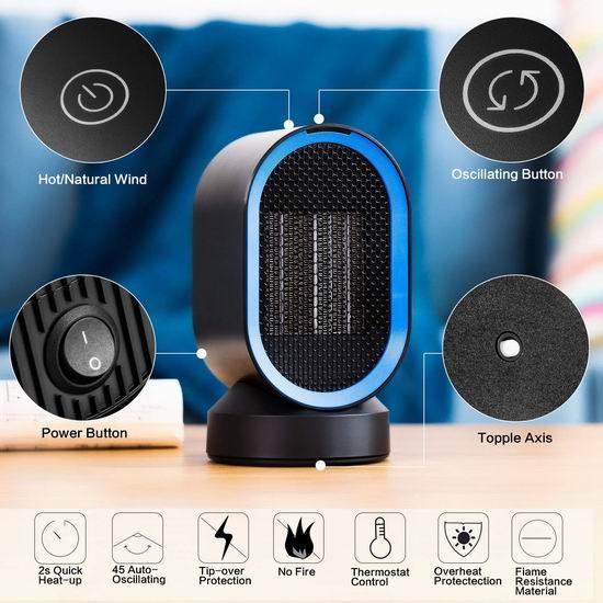 AIVANT 600W 便携式陶瓷电热取暖器6.8折 18.99加元限量特卖并包邮!