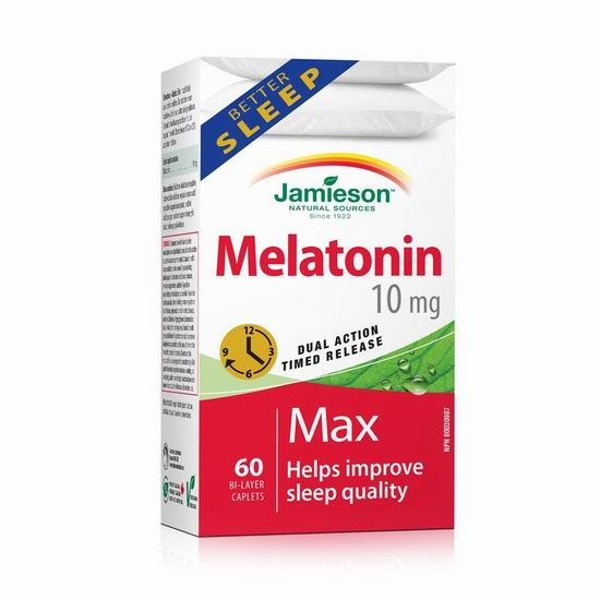Jamieson 健美生 Melatonin 褪黑素双效缓释片(10毫克 x 60片)6.64加元