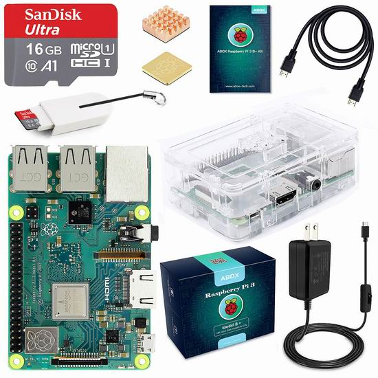 ABOX Raspberry Pi 3 树莓派3 Model B+ 主机板+Micro SD卡+电源 入门套件 76.49加元限量特卖并包邮!