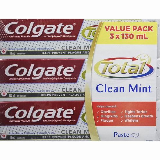 历史新低!Colgate 高露洁 Total 薄荷口味 抗菌防蛀美白牙膏超值装(3 X 130ml)4.4折 3.5加元!