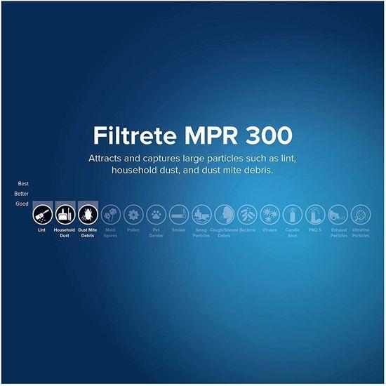 Filtrete 300 MPR 防过敏家庭空调暖气炉过滤网(6个装 16x25x1英寸) 49.94加元包邮!3M旗下品牌!