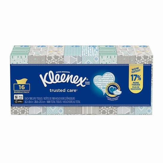 Kleenex 舒洁 Trusted Care Everyday 超软面巾纸/抽纸(100抽x16盒)超值装 17.07加元!