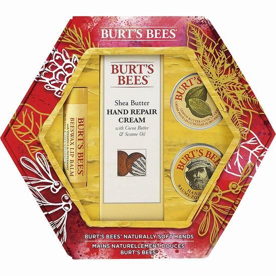手慢无!历史新低!Burt's Bees 小蜜蜂 天然手部唇部护理4件套超值装4.4折 8.88加元!