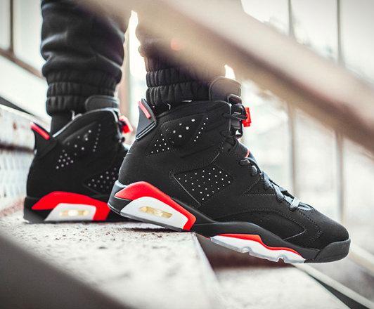 池子陈冠希同款!Air Jordan 6 OG经典黑红篮球鞋 售价 265加元
