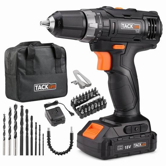Tacklife PCD05B 18V MAX 无绳电钻/起子机+钻头批头超值装 67.97加元限量特卖并包邮!
