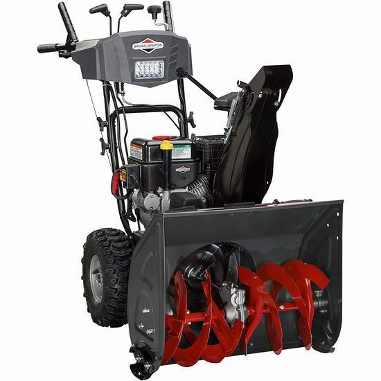 除雪神器 Briggs & Stratton 1696614 208cc 24英寸双阶汽油铲雪机 966.69加元包邮!